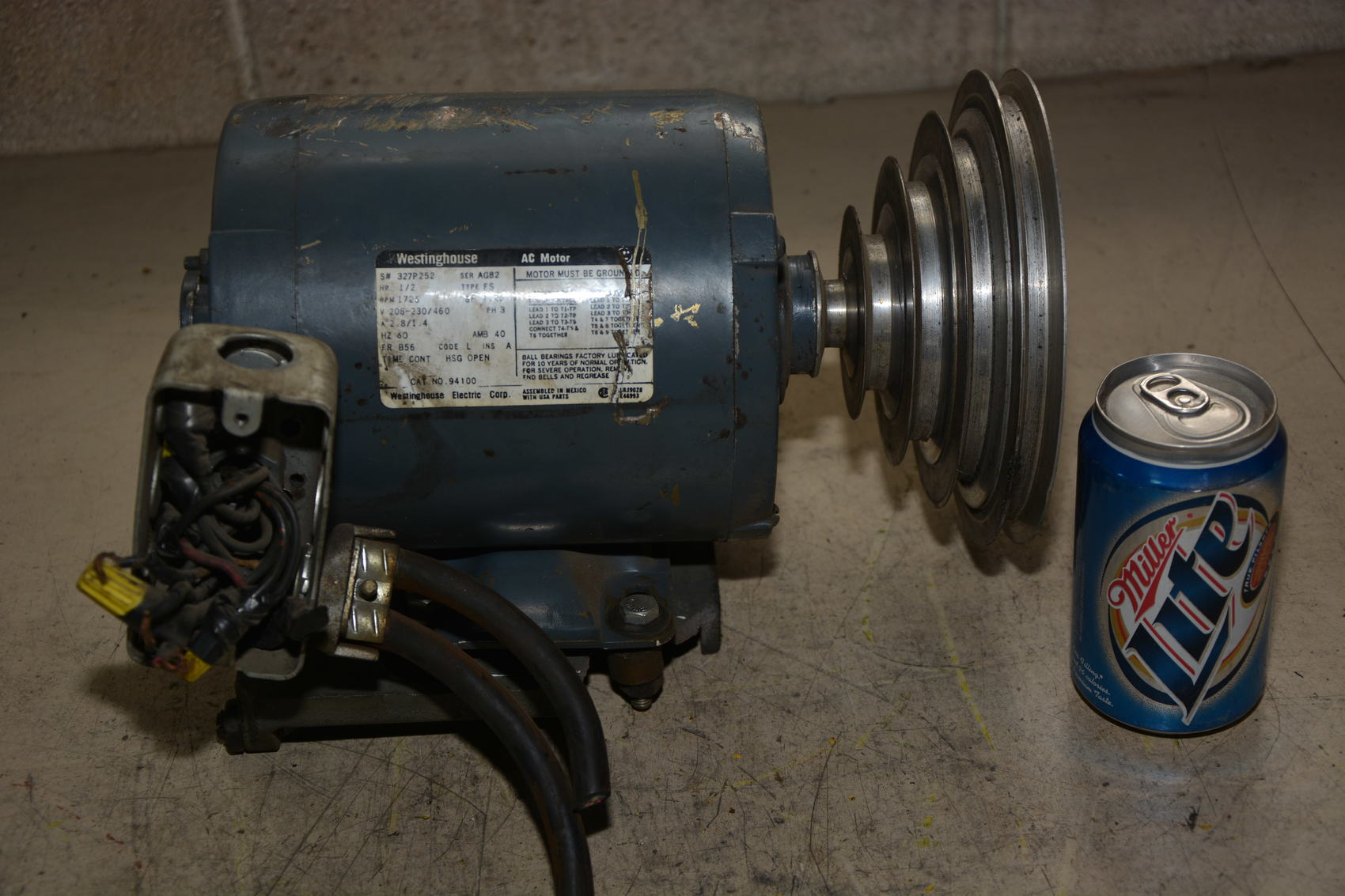Westinghouse 1 2 hp 3 60 208 220 440v motor 4 step drill for Westinghouse ac motor 1 3 hp