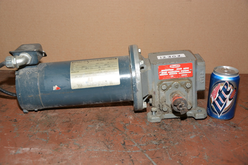 Magnetek 1 2 hp dc gear motor with dayton 15 1 ratio gearbox for 2 hp variable speed motor