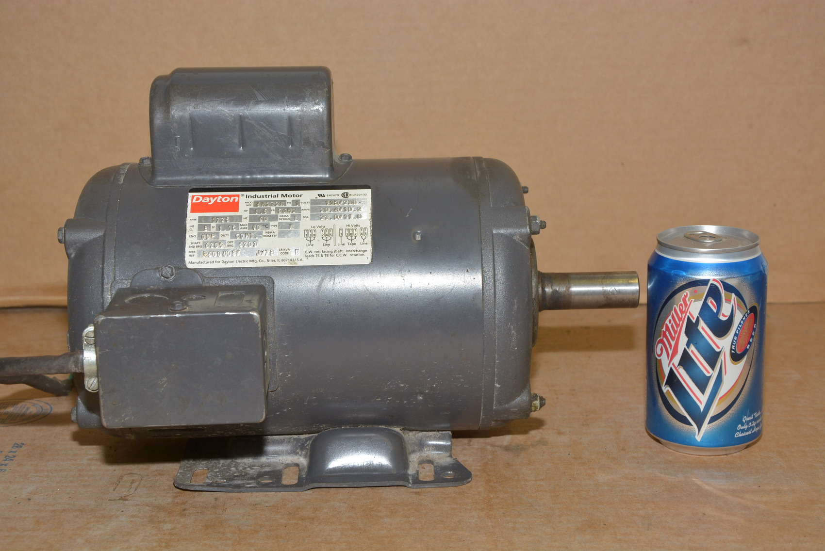 dayton 1 5 hp 1 60 115 230v single phase motor 1725 rpm nopl