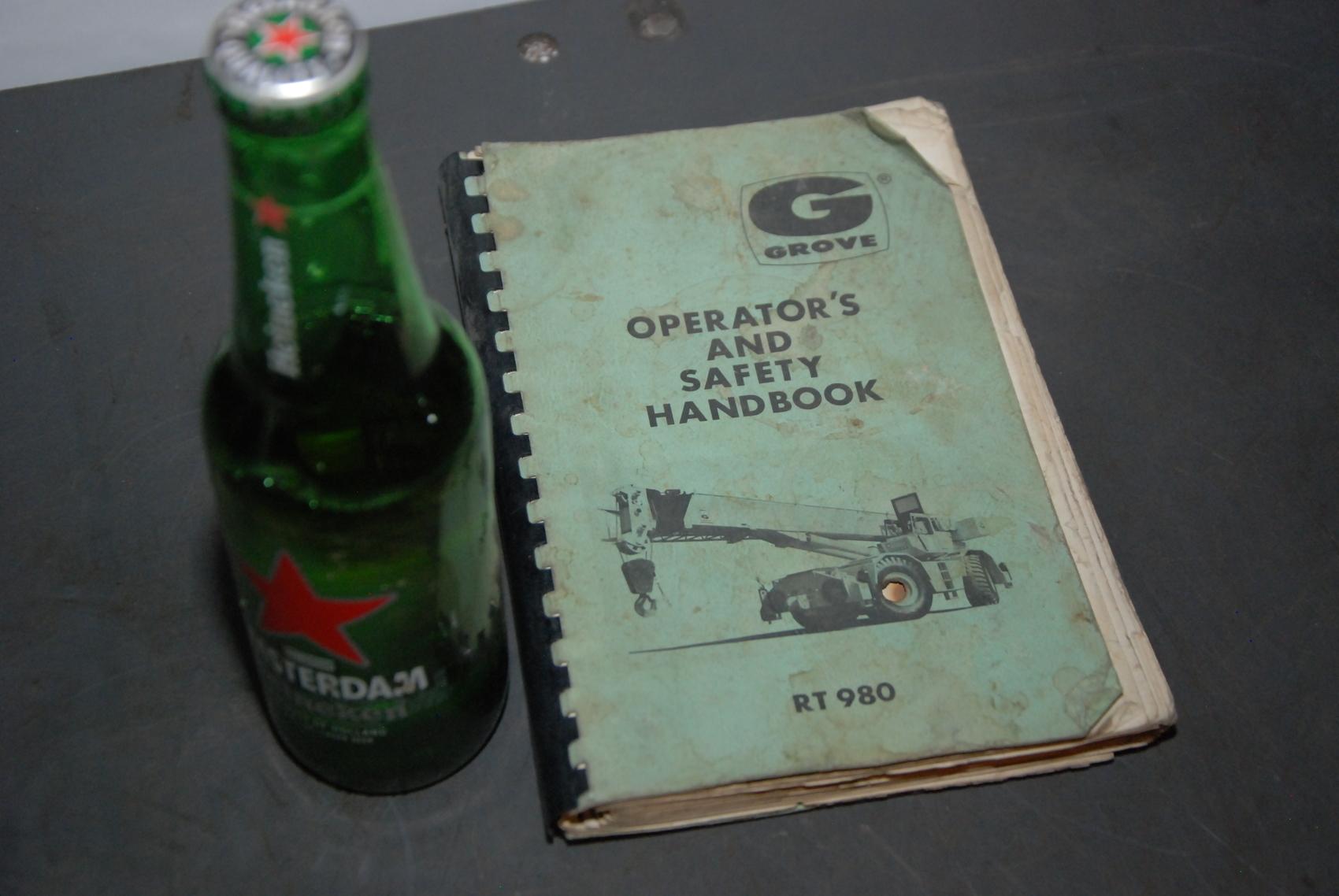 GROVE RT980 Crane operators handbook manual nopl