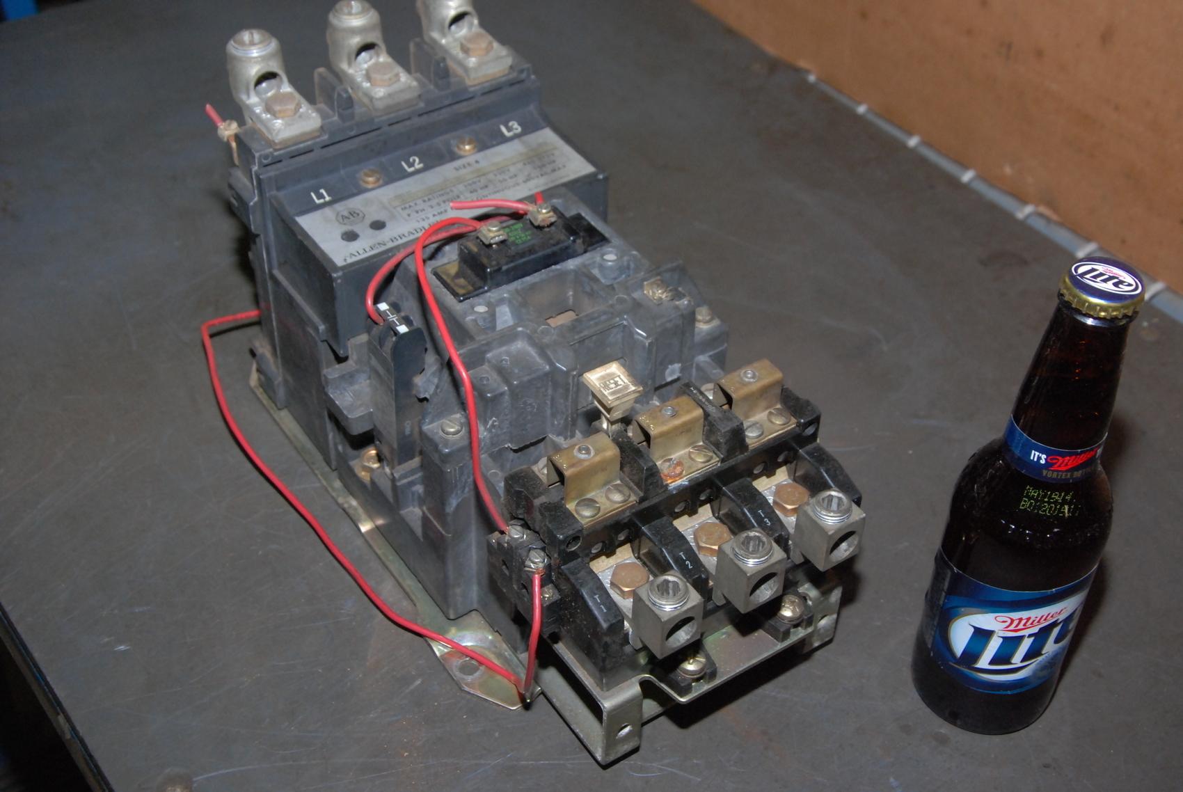Allen Bradley Size 4 Starter;up to 100HP;220/230-240VAC coil.