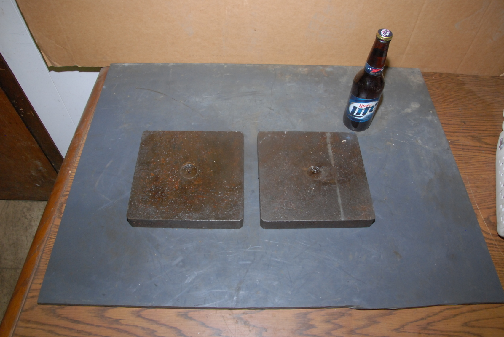 """Lot of 2 steel Plate for blacksmith anvil,40 lbs,8x8x1-1/8"""""""