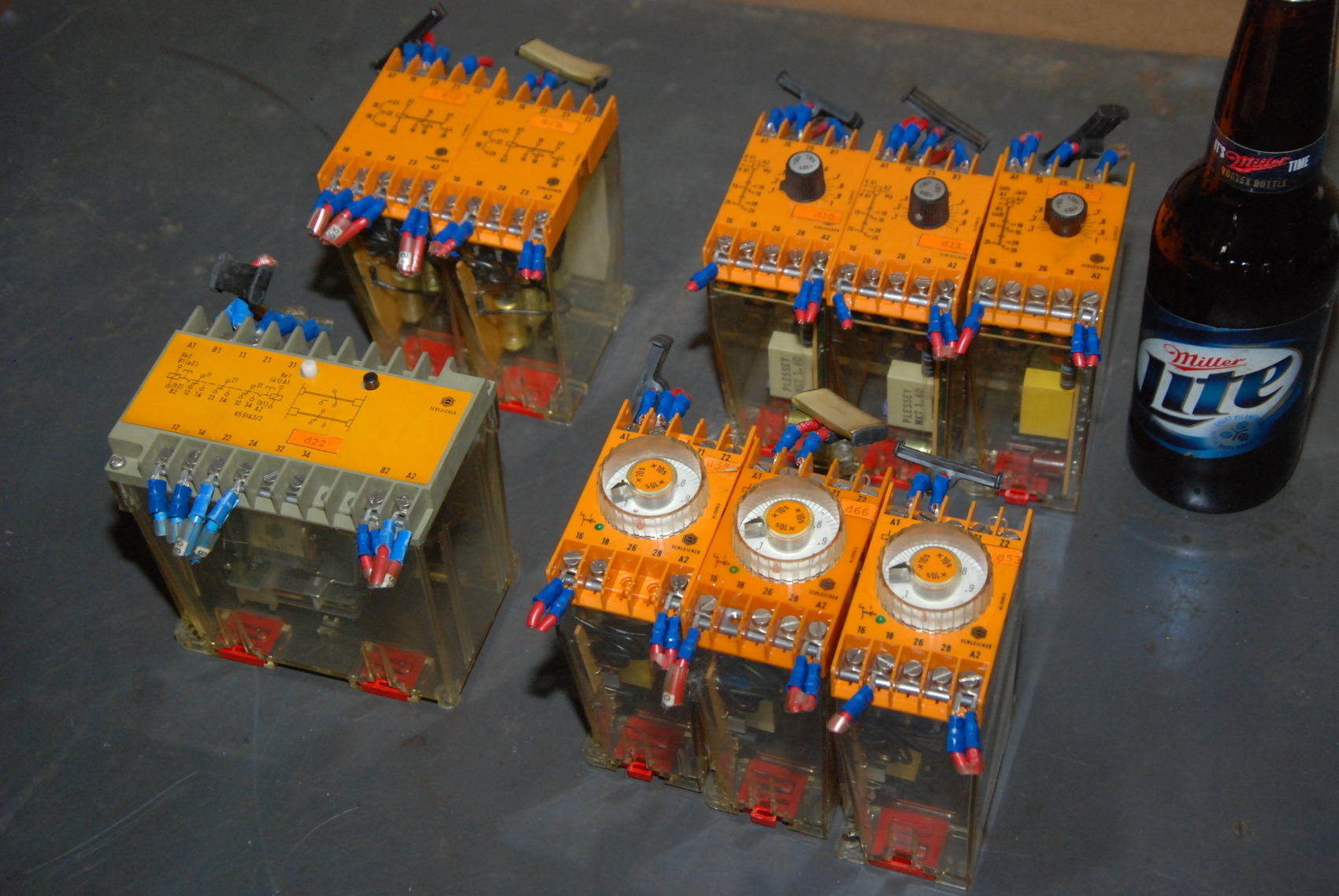Lot of 9 Schleicher Safety relay/time delay relays