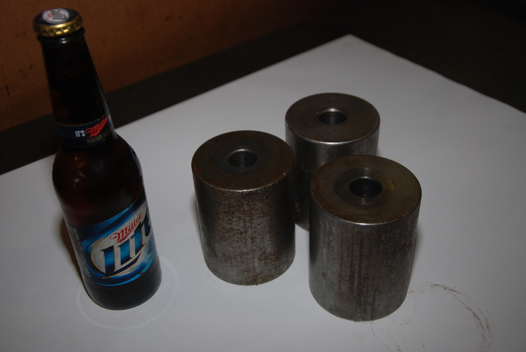 Lot of 3 Steel Cylinders with hole for blacksmith 23lbs