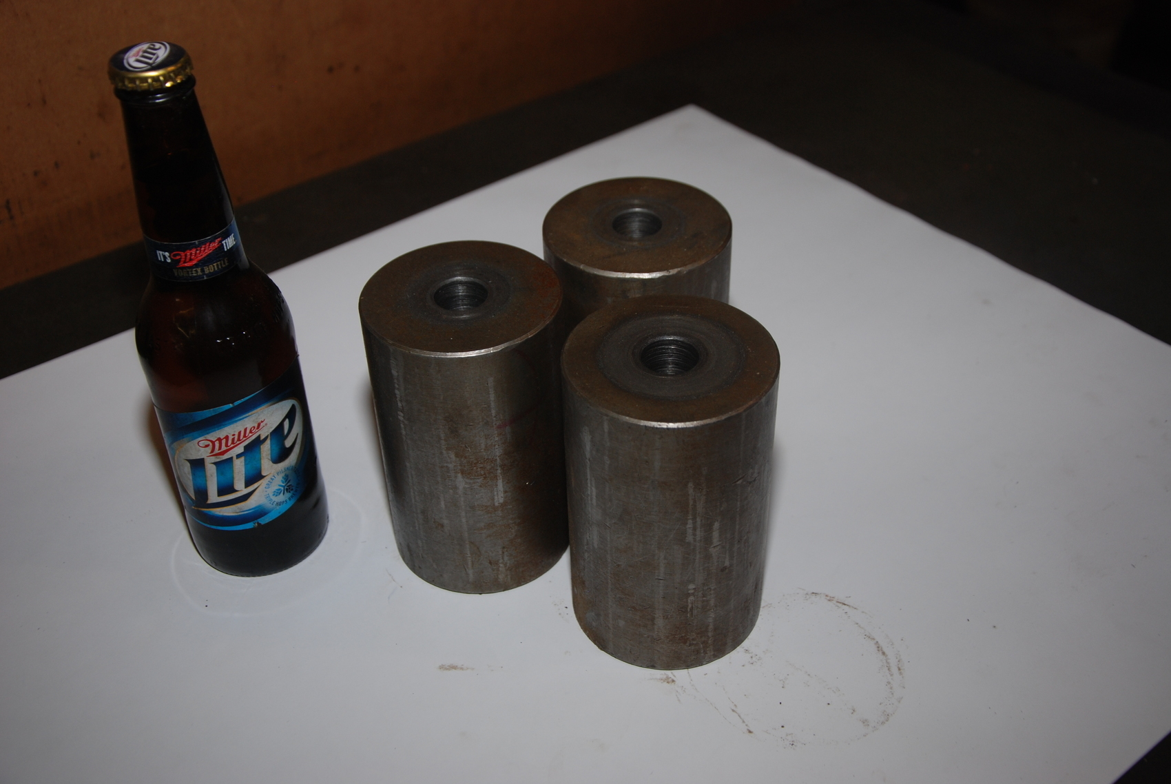 Lot of 3 Steel Cylinders with hole for blacksmith 32,5lbs