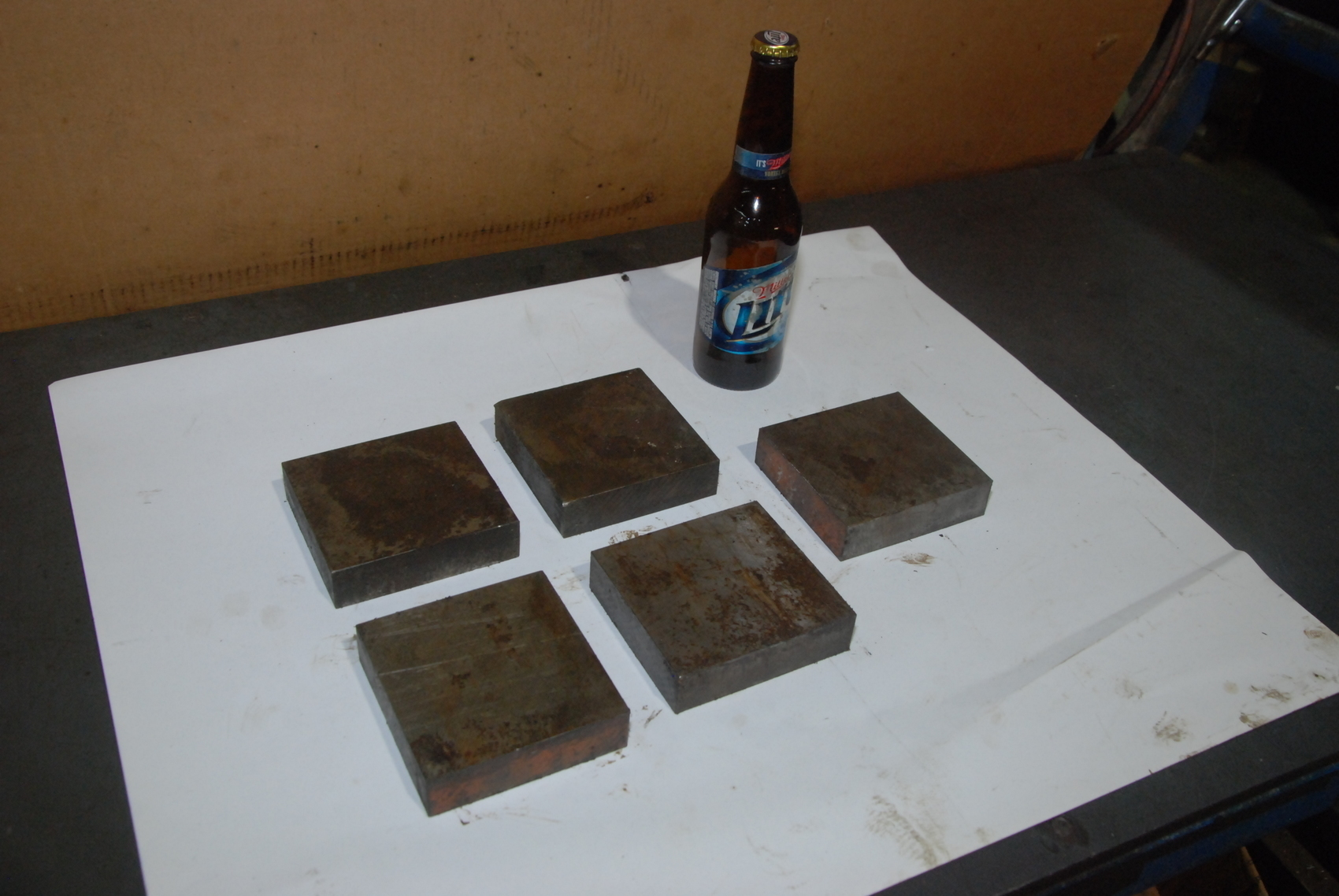 LOT OF 5 steel metal bars square 3.8 by 4 by 1 inch blacksmith anvil