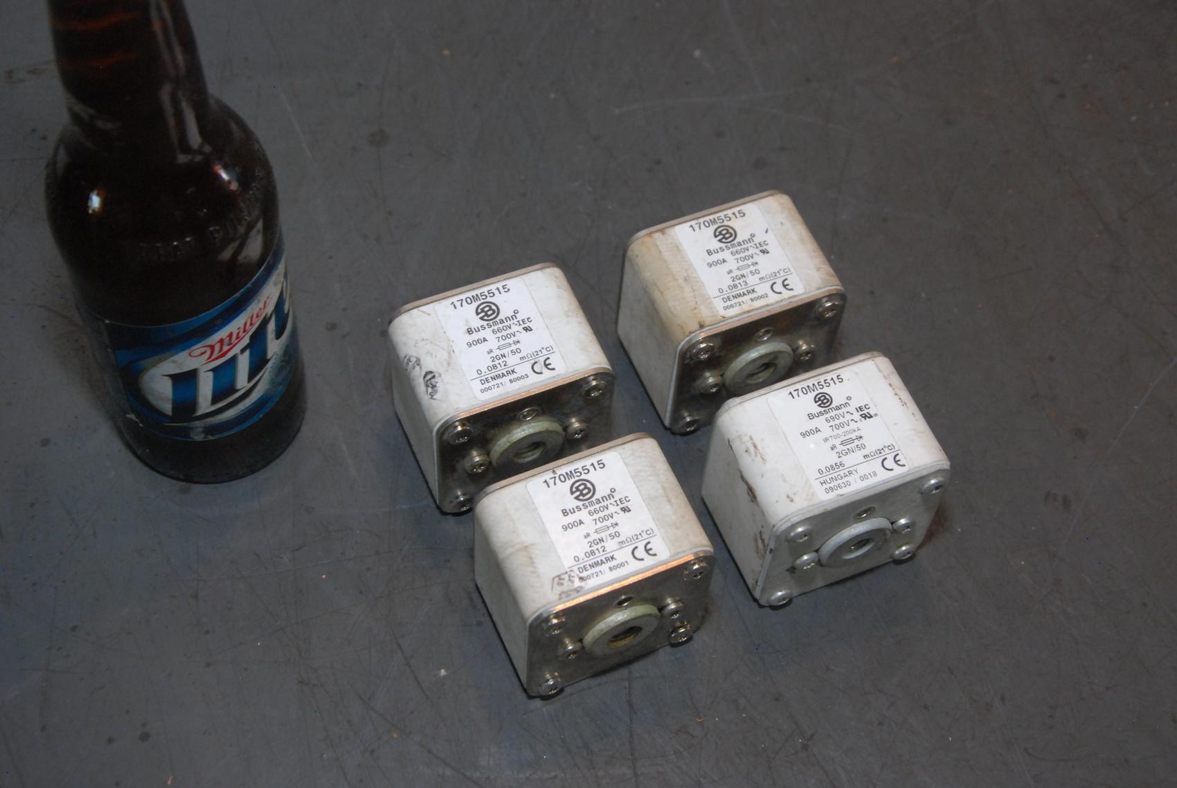 Lot of 4 BUSSMANN 170M5515 FUSES 900A 690V 700V 2GN/50